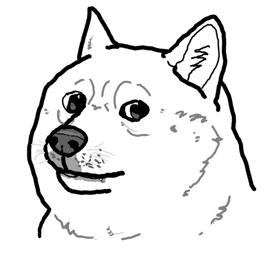 High Quality Black and White Doge Blank Meme Template