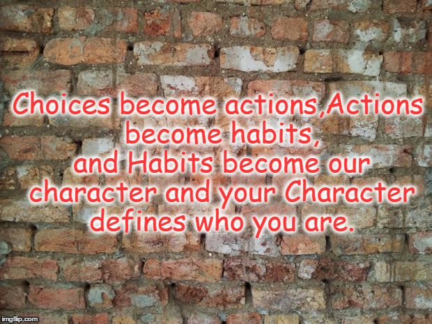 Life Choices | Choices become actions,Actions become habits, and Habits become our character and your Character defines who you are. | image tagged in brick wall,choices,life,character,inspirational | made w/ Imgflip meme maker