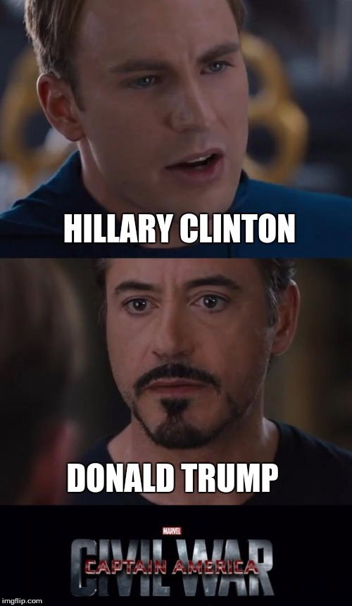 Marvel Civil War Meme | HILLARY CLINTON DONALD TRUMP | image tagged in memes,marvel civil war | made w/ Imgflip meme maker
