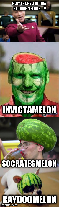 HOW THE HELL DI THEY BECOME MELONS....? RAYDOGMELON INVICTAMELON SOCRATESMELON | made w/ Imgflip meme maker