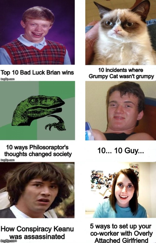 My version of click bait | . | image tagged in memes,bad luck brian,grumpy cat,philosoraptor,10 guy,conspiracy keanu | made w/ Imgflip meme maker