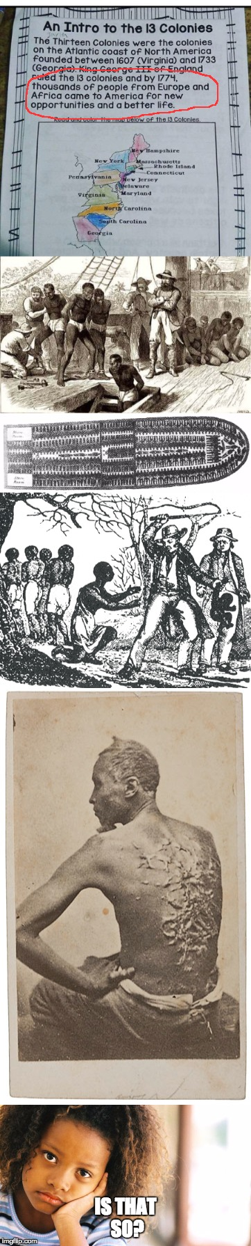 American Education on Slavery | IS THAT SO? | image tagged in slavery,america,education,school,american,colonialism | made w/ Imgflip meme maker