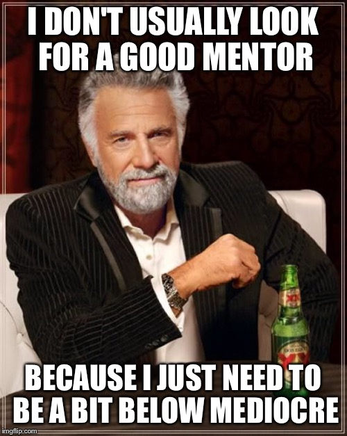 The Most Interesting Man In The World Meme | I DON'T USUALLY LOOK FOR A GOOD MENTOR BECAUSE I JUST NEED TO BE A BIT BELOW MEDIOCRE | image tagged in memes,the most interesting man in the world | made w/ Imgflip meme maker