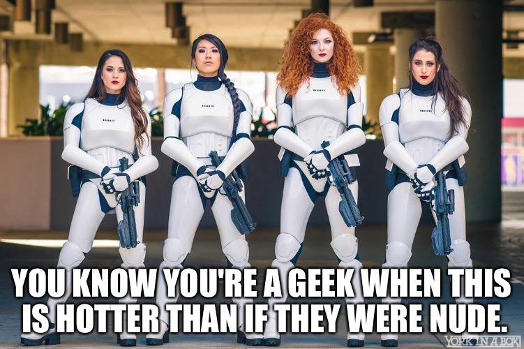 Star Wars Hotness | YOU KNOW YOU'RE A GEEK WHEN THIS IS HOTTER THAN IF THEY WERE NUDE. | image tagged in star wars,female stormtroopers,stormtrooper,turn on,geekgasm | made w/ Imgflip meme maker