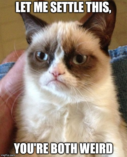 Grumpy Cat Meme | LET ME SETTLE THIS, YOU'RE BOTH WEIRD | image tagged in memes,grumpy cat | made w/ Imgflip meme maker