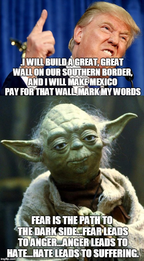 .I WILL BUILD A GREAT, GREAT WALL ON OUR SOUTHERN BORDER, AND I WILL MAKE MEXICO PAY FOR THAT WALL. MARK MY WORDS FEAR IS THE PATH TO THE DA | image tagged in trump,fear,anger,hate,yoda,that is the path to the dark side | made w/ Imgflip meme maker