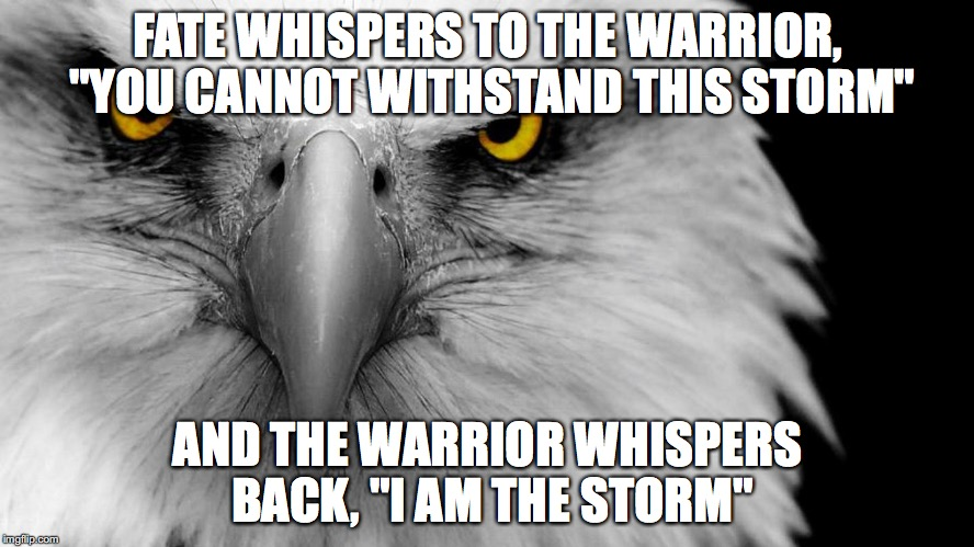 "Eagle face |  FATE WHISPERS TO THE WARRIOR, ""YOU CANNOT WITHSTAND THIS STORM""; AND THE WARRIOR WHISPERS BACK, ""I AM THE STORM"" 