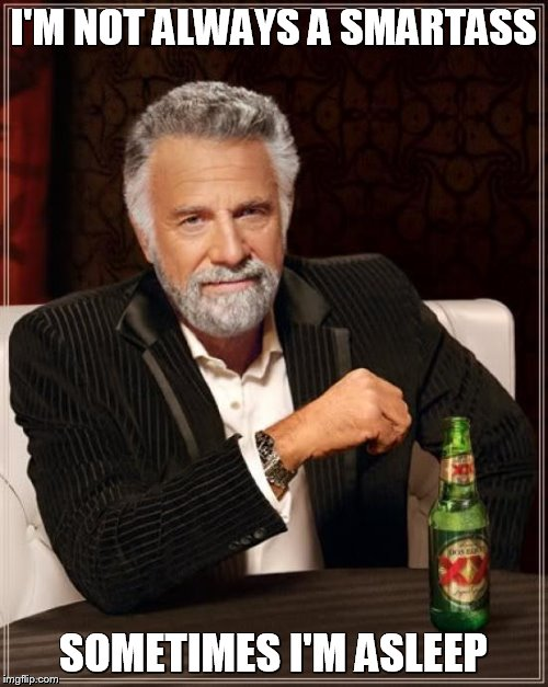 The Most Interesting Man In The World Meme | I'M NOT ALWAYS A SMARTASS SOMETIMES I'M ASLEEP | image tagged in memes,the most interesting man in the world | made w/ Imgflip meme maker