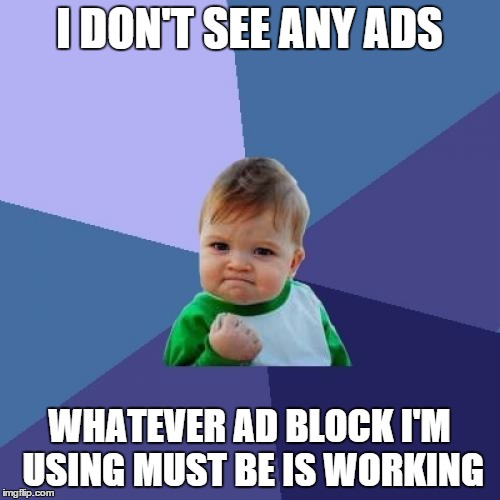Success Kid Meme | I DON'T SEE ANY ADS WHATEVER AD BLOCK I'M USING MUST BE IS WORKING | image tagged in memes,success kid | made w/ Imgflip meme maker