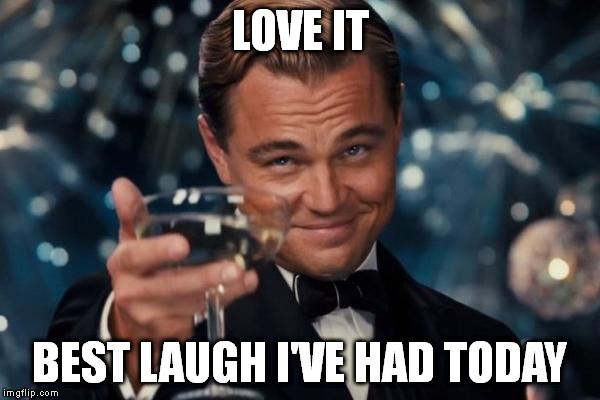 Leonardo Dicaprio Cheers Meme | LOVE IT BEST LAUGH I'VE HAD TODAY | image tagged in memes,leonardo dicaprio cheers | made w/ Imgflip meme maker