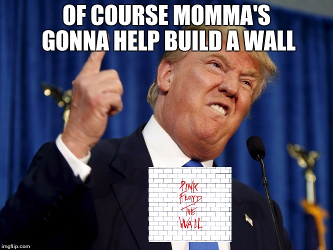 trump | OF COURSE MOMMA'S GONNA HELP BUILD A WALL | image tagged in trump | made w/ Imgflip meme maker