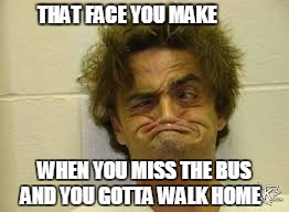 bus :/ | THAT FACE YOU MAKE WHEN YOU MISS THE BUS AND YOU GOTTA WALK HOME | image tagged in school,school bus | made w/ Imgflip meme maker