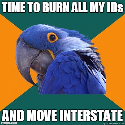 TIME TO BURN ALL MY IDs AND MOVE INTERSTATE | made w/ Imgflip meme maker