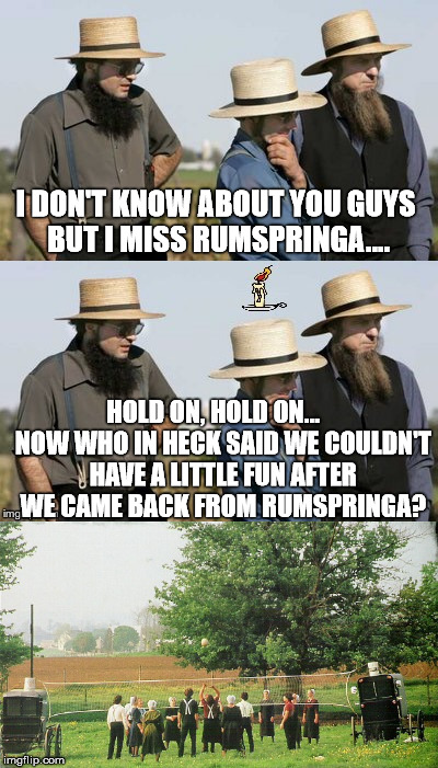 Amish Idea | I DON'T KNOW ABOUT YOU GUYS BUT I MISS RUMSPRINGA.... HOLD ON, HOLD ON...    NOW WHO IN HECK SAID WE COULDN'T HAVE A LITTLE FUN AFTER WE CAM | image tagged in amish idea,funny,memes | made w/ Imgflip meme maker