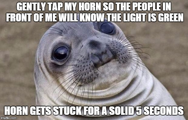Awkward Moment Sealion Meme | GENTLY TAP MY HORN SO THE PEOPLE IN FRONT OF ME WILL KNOW THE LIGHT IS GREEN HORN GETS STUCK FOR A SOLID 5 SECONDS | image tagged in memes,awkward moment sealion,AdviceAnimals | made w/ Imgflip meme maker