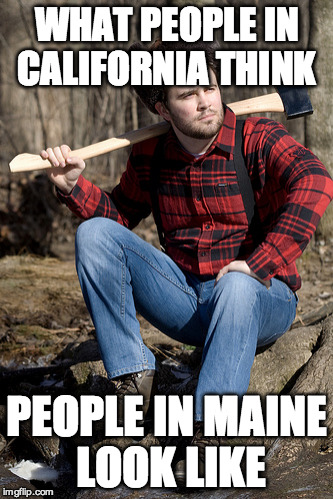 Solemn Lumberjack | WHAT PEOPLE IN CALIFORNIA THINK PEOPLE IN MAINE LOOK LIKE | image tagged in memes,solemn lumberjack | made w/ Imgflip meme maker