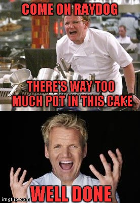 COME ON RAYDOG THERE'S WAY TOO MUCH POT IN THIS CAKE WELL DONE | made w/ Imgflip meme maker