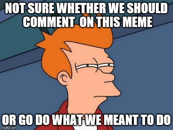 Futurama Fry Meme | NOT SURE WHETHER WE SHOULD COMMENT  ON THIS MEME OR GO DO WHAT WE MEANT TO DO | image tagged in memes,futurama fry | made w/ Imgflip meme maker