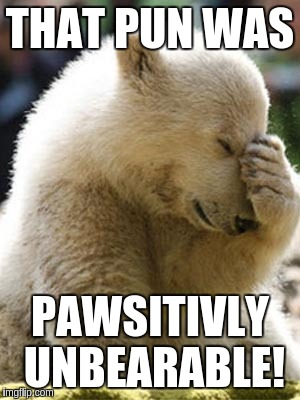 Facepalm Bear |  THAT PUN WAS; PAWSITIVLY UNBEARABLE! | image tagged in memes,facepalm bear | made w/ Imgflip meme maker