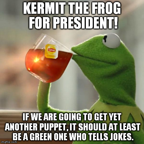 But Thats None Of My Business | KERMIT THE FROG FOR PRESIDENT! IF WE ARE GOING TO GET YET ANOTHER PUPPET, IT SHOULD AT LEAST BE A GREEN ONE WHO TELLS JOKES. | image tagged in memes,but thats none of my business,kermit the frog | made w/ Imgflip meme maker