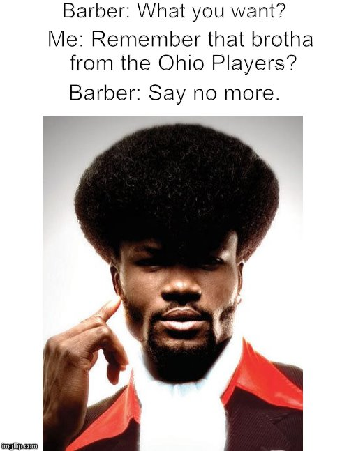 Meanwhile, at the barbershop.... | Barber: What you want? Barber: Say no more. Me: Remember that brotha from the Ohio Players? | image tagged in funny memes,music,barber,haircut,soul | made w/ Imgflip meme maker