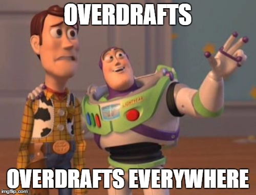 X, X Everywhere Meme | OVERDRAFTS OVERDRAFTS EVERYWHERE | image tagged in memes,x x everywhere | made w/ Imgflip meme maker