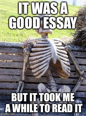 Waiting Skeleton Meme | IT WAS A GOOD ESSAY BUT IT TOOK ME A WHILE TO READ IT | image tagged in memes,waiting skeleton | made w/ Imgflip meme maker