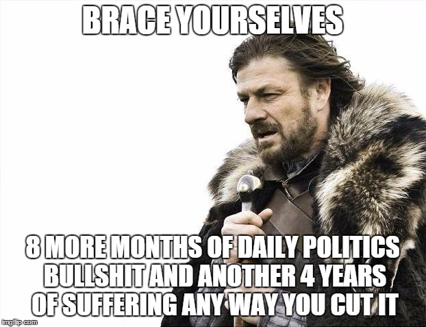 Brace Yourselves X is Coming Meme |  BRACE YOURSELVES; 8 MORE MONTHS OF DAILY POLITICS BULLSHIT AND ANOTHER 4 YEARS OF SUFFERING ANY WAY YOU CUT IT | image tagged in memes,brace yourselves x is coming | made w/ Imgflip meme maker