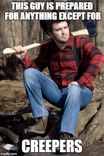 Solemn Lumberjack | THIS GUY IS PREPARED FOR ANYTHING EXCEPT FOR CREEPERS | image tagged in memes,solemn lumberjack | made w/ Imgflip meme maker