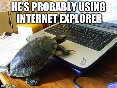 Turtle Computer | HE'S PROBABLY USING INTERNET EXPLORER | image tagged in turtle computer | made w/ Imgflip meme maker