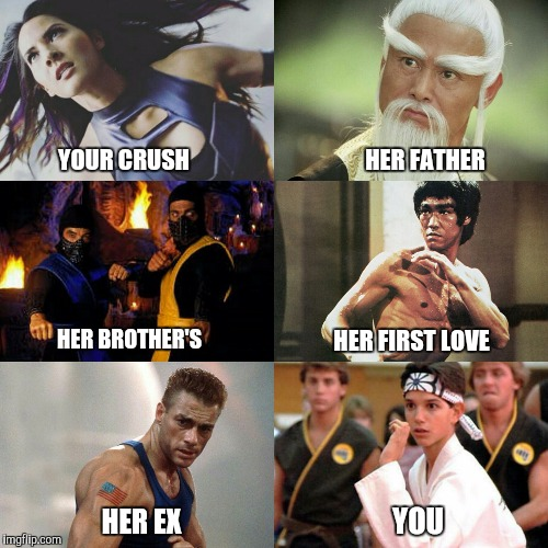 HER FATHER; YOUR CRUSH; HER FIRST LOVE; HER BROTHER'S; YOU; HER EX | image tagged in mortal kombat,kill bill,street fighter,x men,bruce lee | made w/ Imgflip meme maker