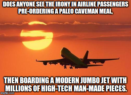 airplanelove | DOES ANYONE SEE THE IRONY IN AIRLINE PASSENGERS PRE-ORDERING A PALEO CAVEMAN MEAL, THEN BOARDING A MODERN JUMBO JET WITH MILLIONS OF HIGH-TE | image tagged in airplanelove | made w/ Imgflip meme maker