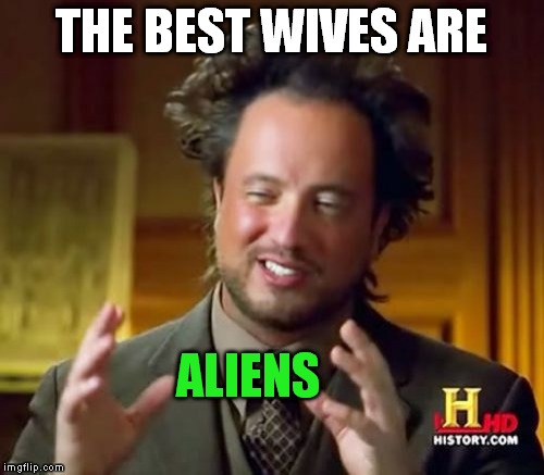Ancient Aliens Meme | THE BEST WIVES ARE ALIENS | image tagged in memes,ancient aliens | made w/ Imgflip meme maker
