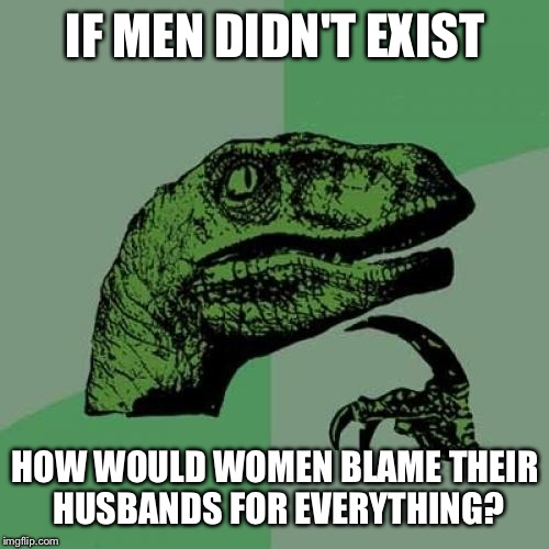 Philosoraptor Meme | IF MEN DIDN'T EXIST HOW WOULD WOMEN BLAME THEIR HUSBANDS FOR EVERYTHING? | image tagged in memes,philosoraptor | made w/ Imgflip meme maker