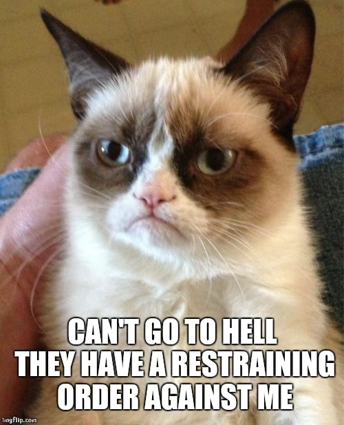 Grumpy Cat Meme | CAN'T GO TO HELL THEY HAVE A RESTRAINING ORDER AGAINST ME | image tagged in memes,grumpy cat | made w/ Imgflip meme maker