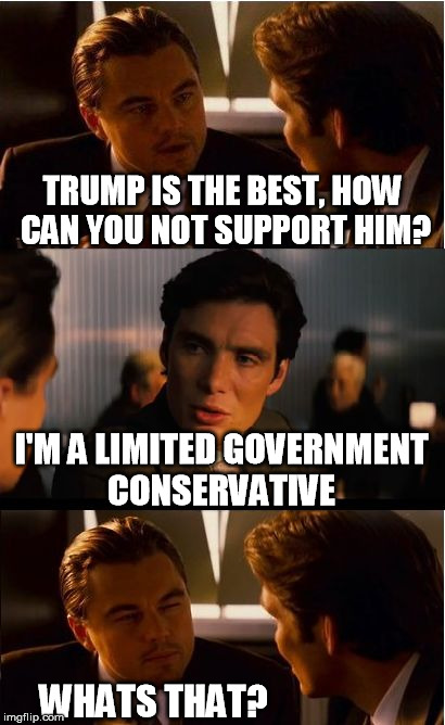 then you get called a cuckservative  |  TRUMP IS THE BEST, HOW CAN YOU NOT SUPPORT HIM? I'M A LIMITED GOVERNMENT CONSERVATIVE; WHATS THAT? | image tagged in memes,inception,donald trump,trump,election 2016 | made w/ Imgflip meme maker
