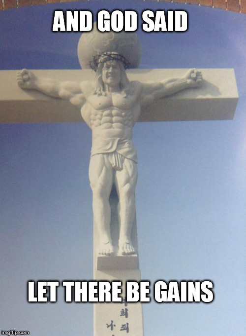For some reason this is how Jesus is portrayed in Korea  | AND GOD SAID LET THERE BE GAINS | image tagged in bro jesus,muscles,buff,jesus,korean jesus | made w/ Imgflip meme maker
