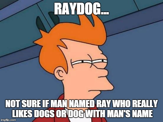 Futurama Fry Meme | RAYDOG... NOT SURE IF MAN NAMED RAY WHO REALLY LIKES DOGS OR DOG WITH MAN'S NAME | image tagged in memes,futurama fry | made w/ Imgflip meme maker