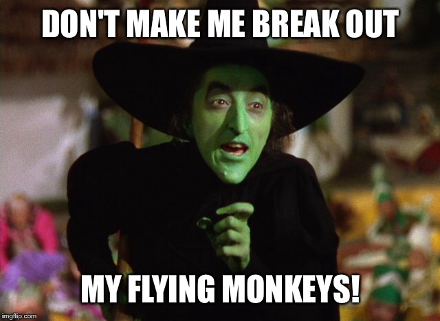 Witch Slap | DON'T MAKE ME BREAK OUT MY FLYING MONKEYS! | image tagged in funny memes,meme,wicked witch,wicked witch of the east cellar door | made w/ Imgflip meme maker